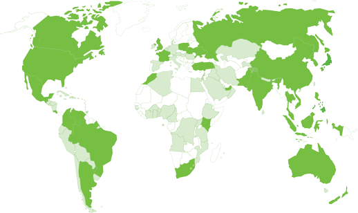 Highlighted world map of countries Foresight Associates has worked